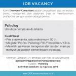 Job Vacancy – Kami Discovery Consultant adalah perusahaan jasa konsultasi bisnis, manajemen, dan asesmen. Saat ini membutuhkan profesional dengan uraian sebagai berikut: